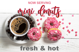 Scotsman Espresso now serves Fresh, Hot Mini Donuts as well as other hot and cold coffee drinks